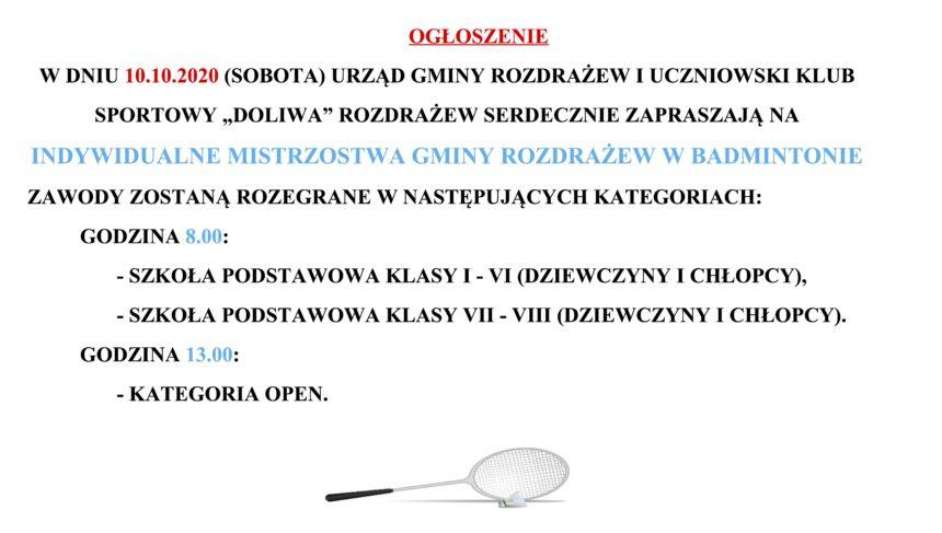 Ogłoszenie – indywidualne mistrzostwa gminy w badmintonie