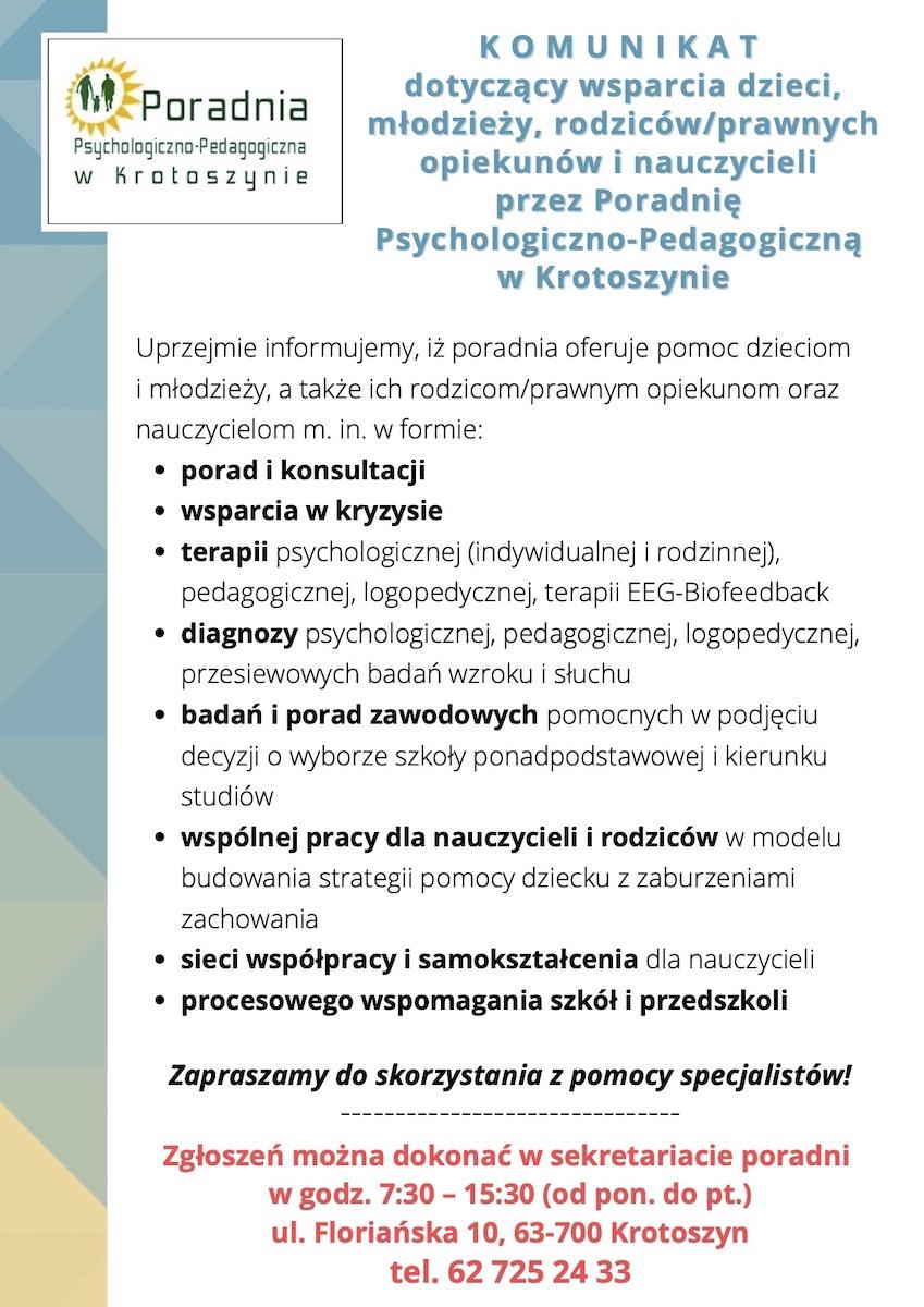 Komunikat Poradni Psychologiczno-Pedagogicznej w Krotoszynie