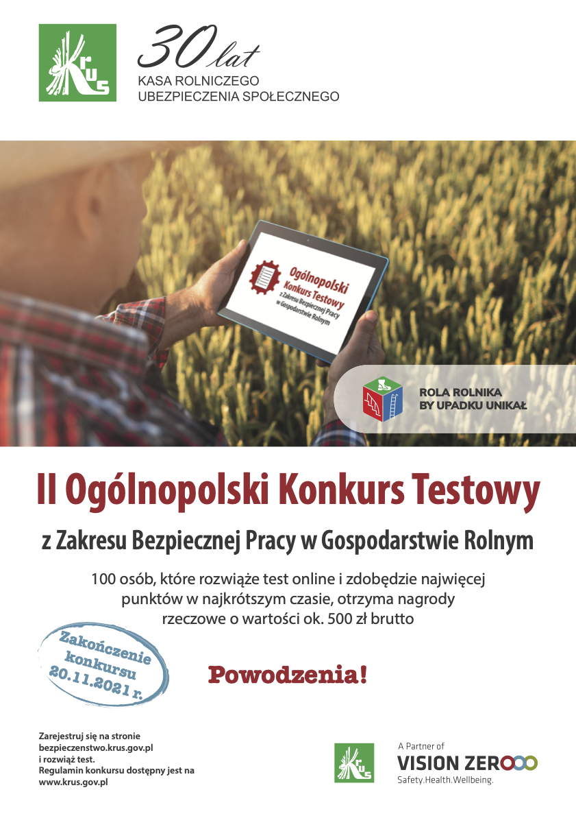 II Ogólnopolski Konkurs Testowy z Zakresu Bezpiecznej Pracy w Gospodarstwie Rolnym